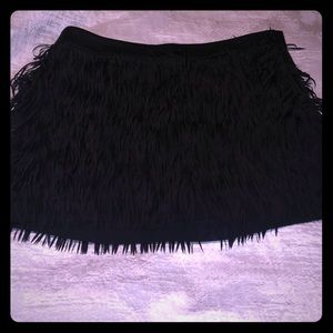 Like new! Express black fringe skirt (size 0)